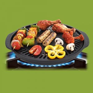 Gas O Grill Aluminum BBQs Full Non-Stick Smokeless Indoor Tandoor JUMBO 14 Inches