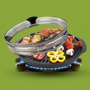 Gas O Grill Full Non-Stick JUMBO WITH GLASS LID 14 Inches Model