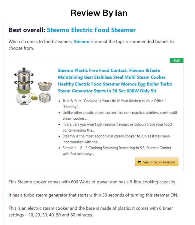 steemo in top 10 multi steam cooker by ian