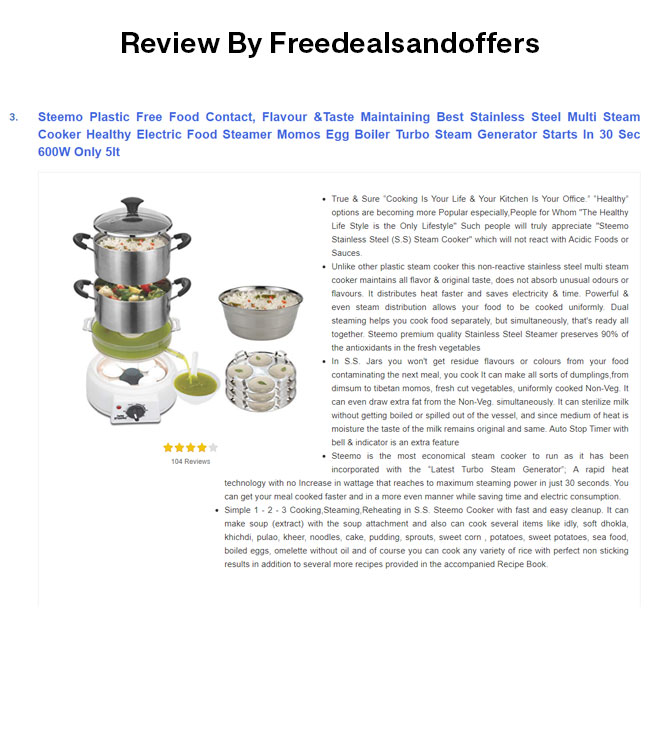 steemo in top 10 multi steam cooker by freedealsandoffers